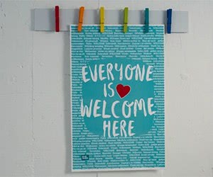 """Free """"Everyone Is Welcome Here"""" Classroom Poster"""