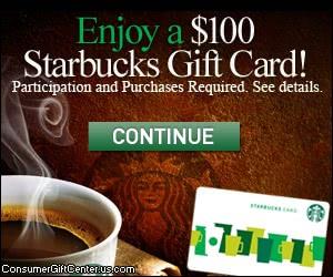 Free $100 Starbucks Gift Card