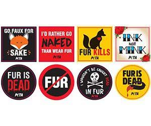"""Free Peta """"Fur Is Dead"""" Stickers"""