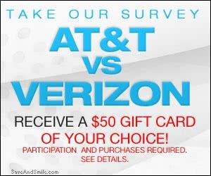 Free $50 AT&T or Verizon Gift Card