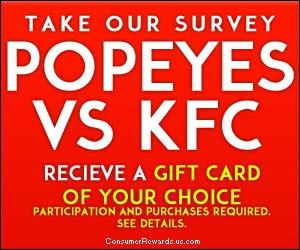 Free Popeyes or KFC Survey $50 Gift Card