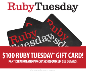 Free $100 Ruby Tuesday Gift Card