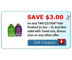 Save $3.00 on any TWO (2) OGX® Hair Product