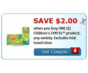Save $2.00 when you buy ONE (1) Children's ZYRTEC® product, any variety. Excludes trial & travel sizes