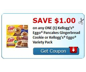 Save $1.00 on any ONE (1) Kellogg's® Eggo® Pancakes Gingerbread Cookie or Kellogg's® Eggo® Variety Pack