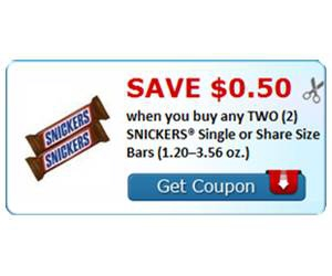 Save $0.50 when you buy any TWO (2) SNICKERS® Single or Share Size Bars