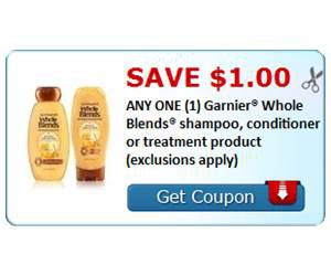 Save $1.00 ANY ONE (1) Garnier® Whole Blends® shampoo, conditioner or treatment product