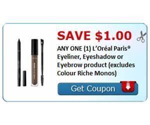 Save $1.00 ANY ONE (1) L'Oréal Paris® Eyeliner, Eyeshadow or Eyebrow product