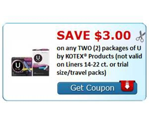 Save $3.00 on any TWO (2) packages of U by KOTEX® Products