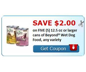 Save $2.00 on FIVE (5) 12.5 oz or larger cans of Beyond® Wet Dog Food, any variety