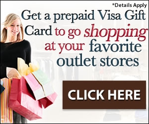 Free Shopping Visa Gift Card To Go Shopping At Your Favorite Outlet Stores