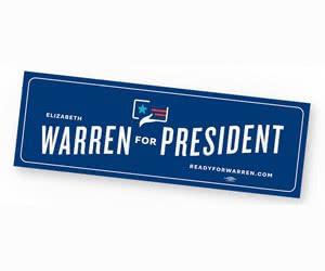 """Free """"Elizabeth Warren For President"""" Bumper Sticker"""