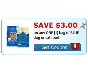 Save $3.00 on any ONE (1) bag of BLUE dog or cat food