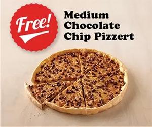 Free Medium Chocolate Chip Pizzert At Pizza Inn