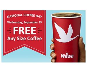 Free Any Size Coffee at Wawa